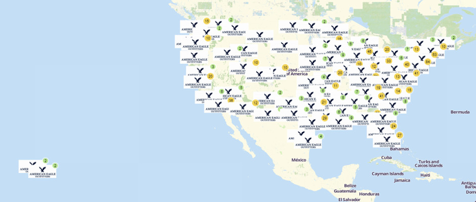Map of American Eagle Outfitters Locations