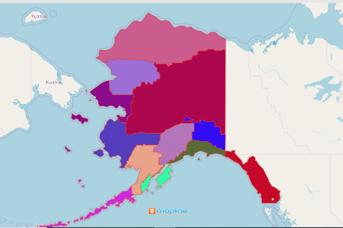 Map Alaska Native Regional Corporation of the USA