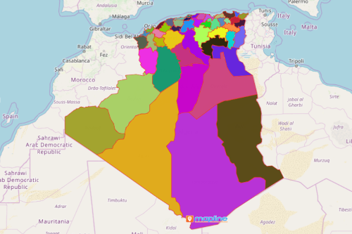 Map of Algeria Provinces