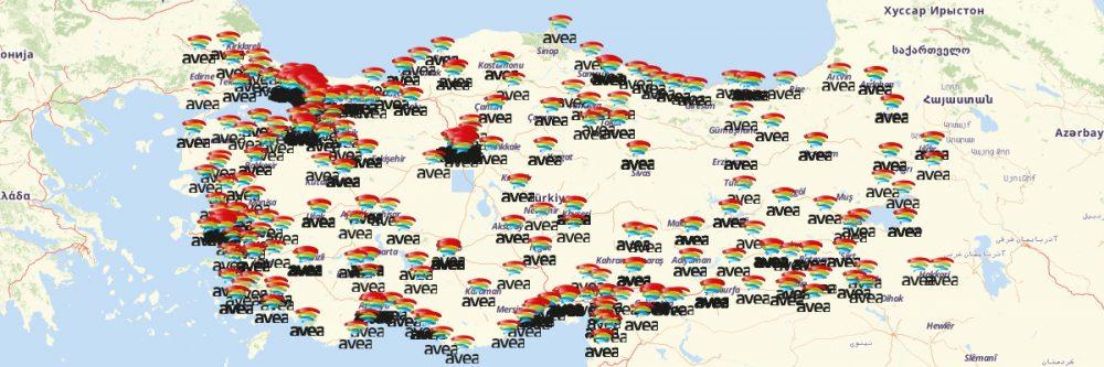 Map of Turk Telekom Locations (Avea)