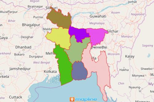 Bangladesh map showing divisions