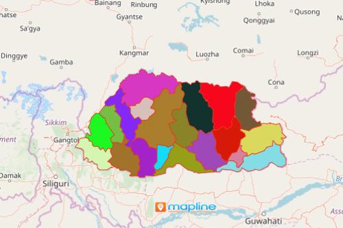 District Map of Bhutan