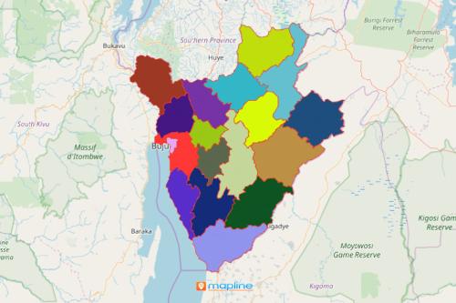 Burundi Map Showing Provinces