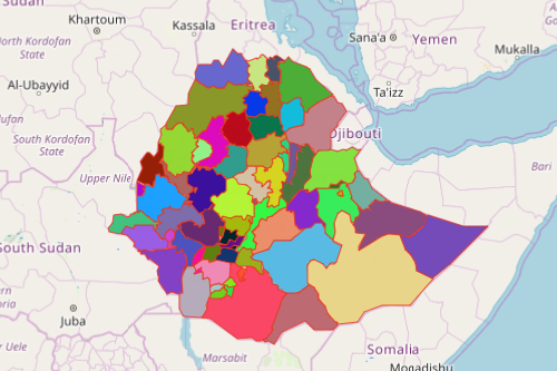 Ethiopia Map Showing Zones
