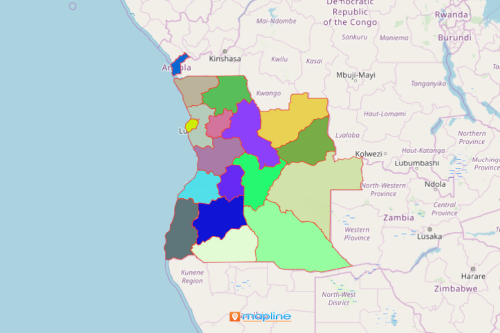 Angola Map Showing Provinces