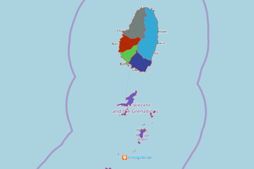 Map Saint Vincent and Grenadines Parishes