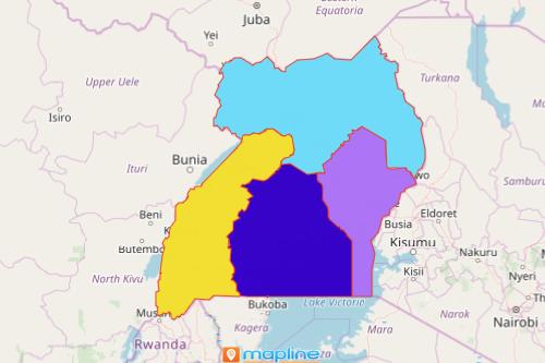 Uganda Region Map