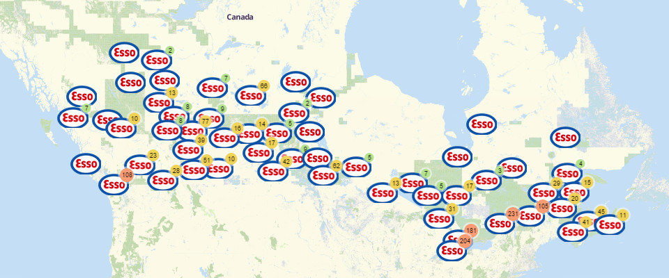 Easy Steps on Building a Map of Esso Gas Stations