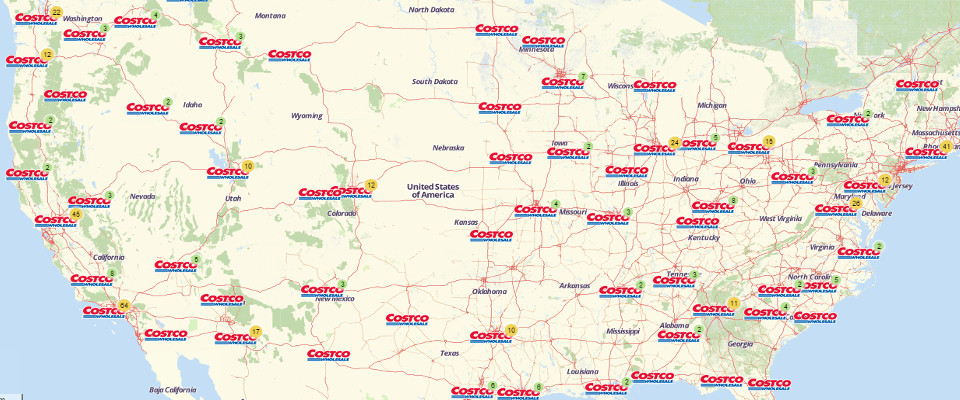 Map Of Costco Locations In California California Map - Map of costco in us