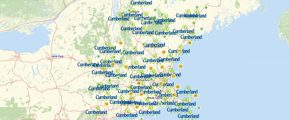 Map of Cumberland Farms Locations