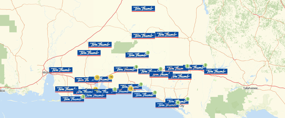 Map of Tom Thumb Locations