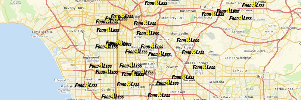 Map of Food 4 Less Locations