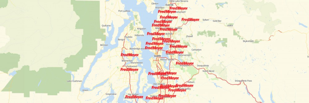 Map of Fred Meyer Locations