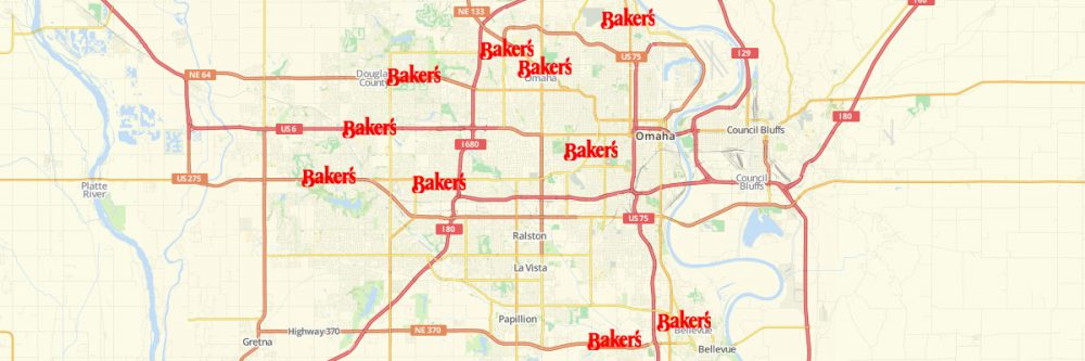 Map of Baker's Locations