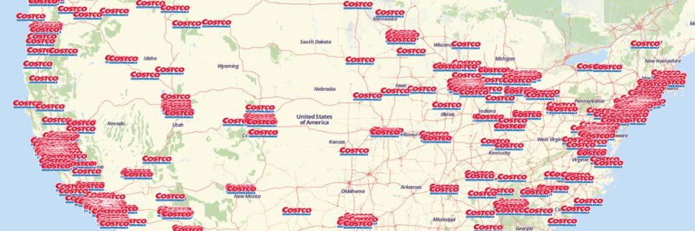 Map of Costco Wholesale Stores