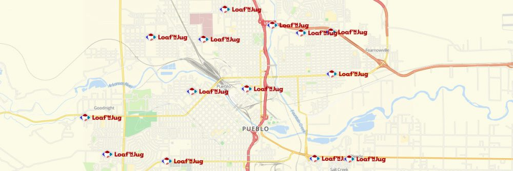 Map of Loaf 'n Jug Locations