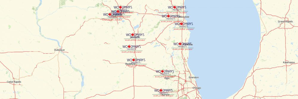 Map of Woodman's Locations