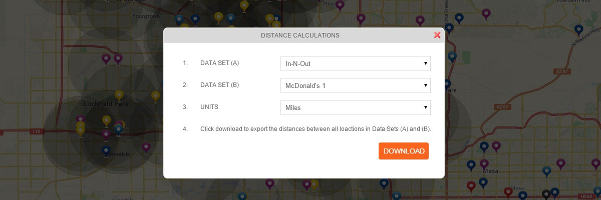 Distance Between All Locations in Two Data Sets