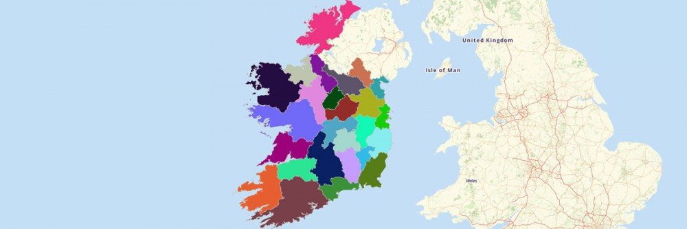 County Map of Ireland -- Republic of Ireland and Northern Ireland