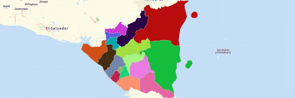 Departments of Nicaragua Map