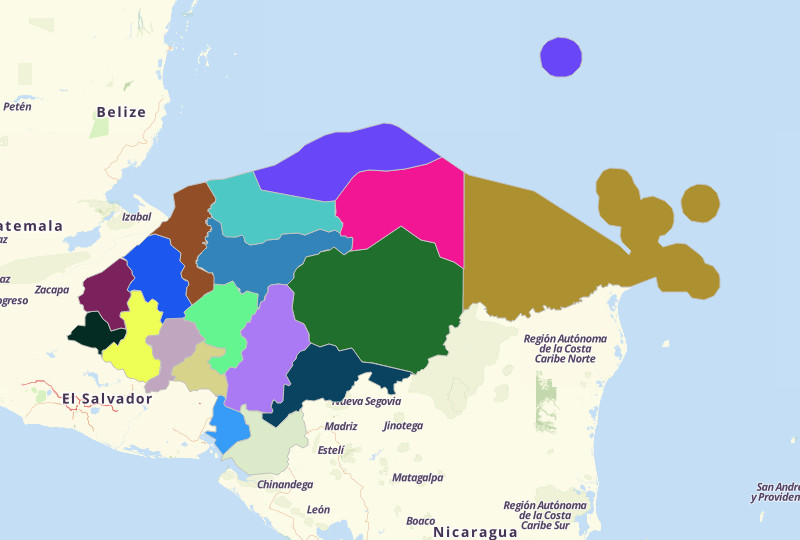 Map Territories For Honduras