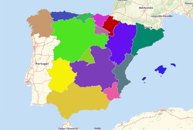map territories for spain