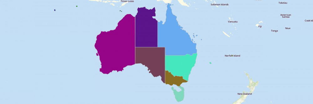 Map of Australian States and Territories