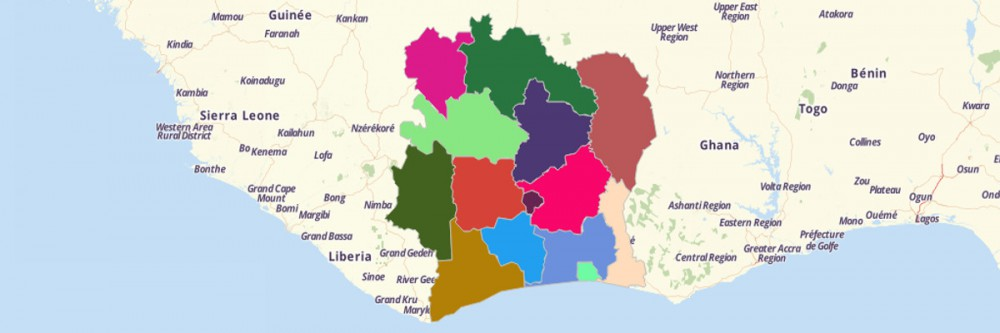 Map of Cote d'Ivoire Districts