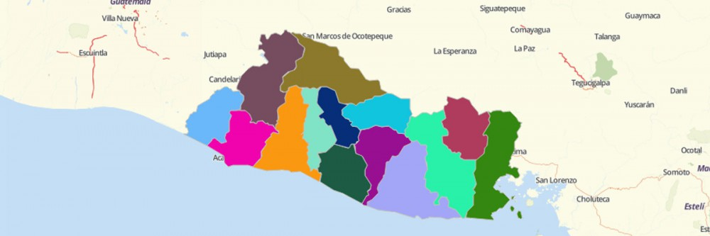 Map of El Salvador Departments