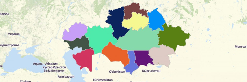 Map of Kazakhstan Regions