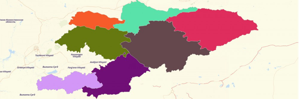 Map of Kyrgyzstan Regions