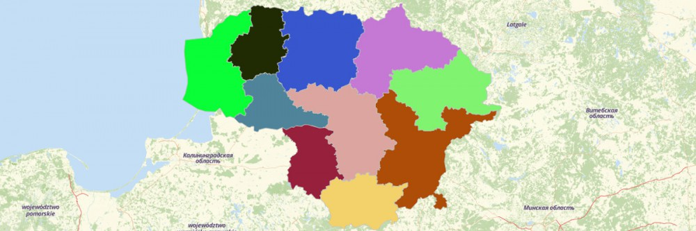 Map of Lithuania Counties
