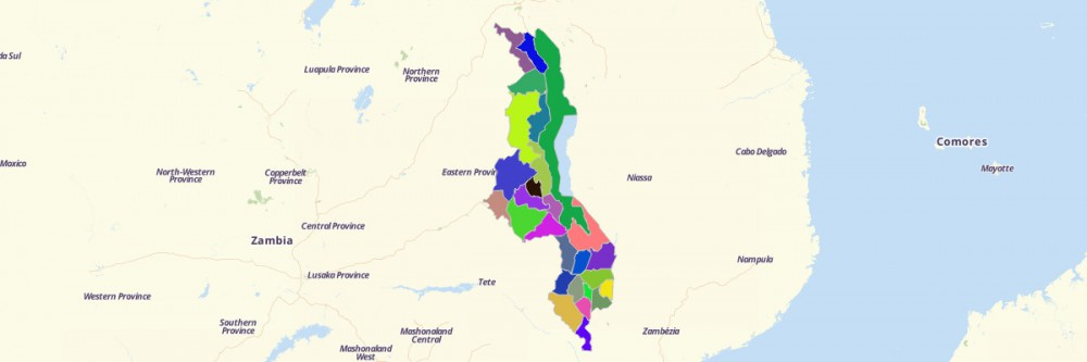 Map of Malawi Districts Mapline