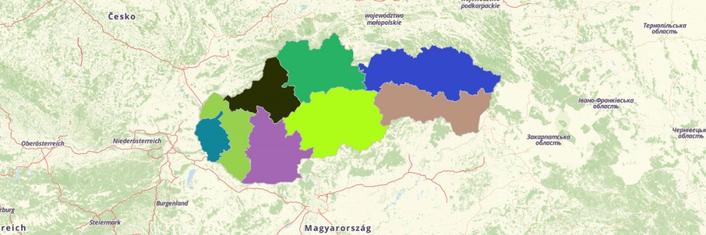 Map of Slovakia Regions