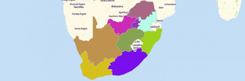 A color-coded South African provinces map from Mapline