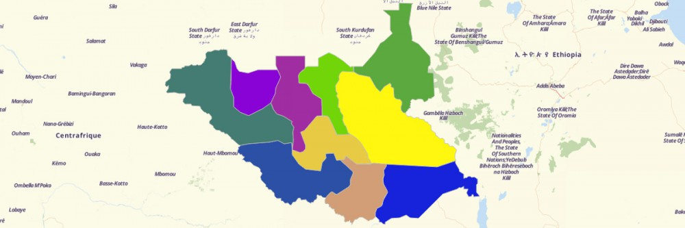 Map of South Sudan States