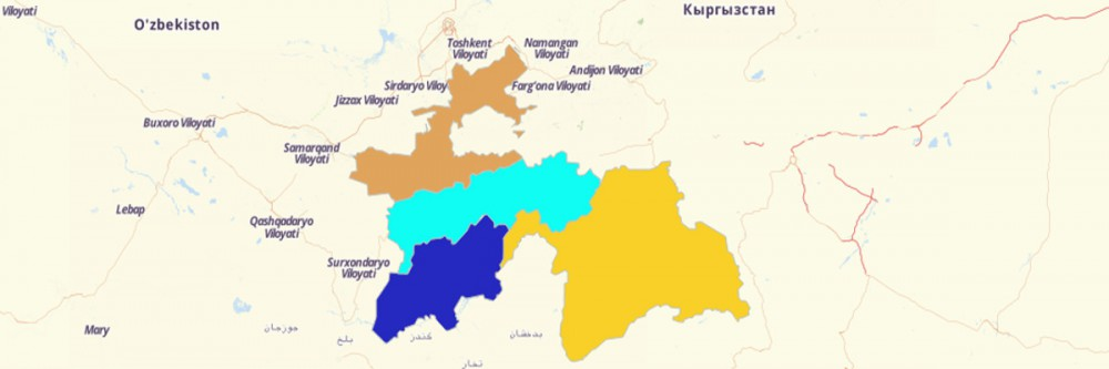 Map of Tajikistan Districts