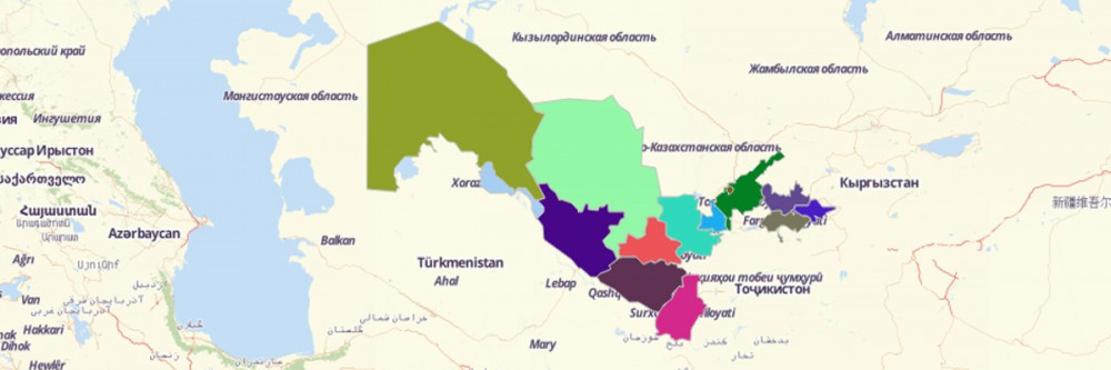 Map of Uzbekistan Regions