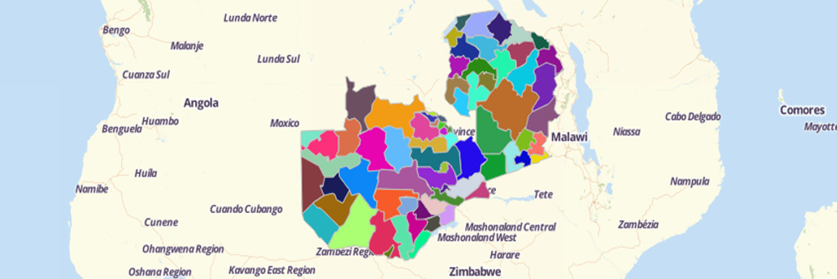 Map of Zambia Districts - Mapline