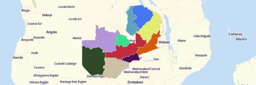 Color-coded provinces in Zambia on a map from Mapline