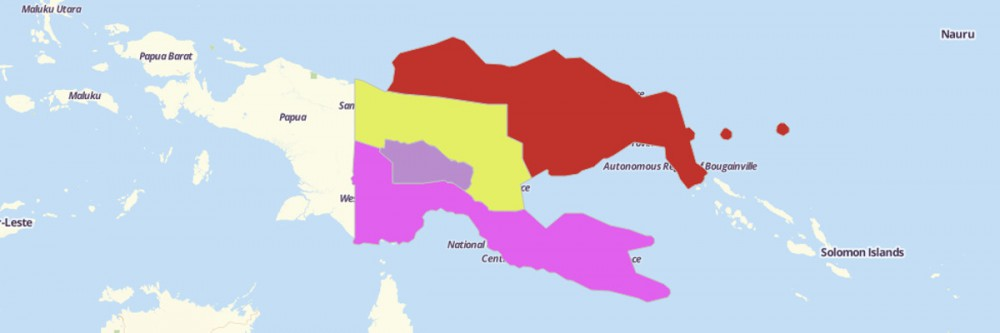 Map of Papua New Guinea Regions