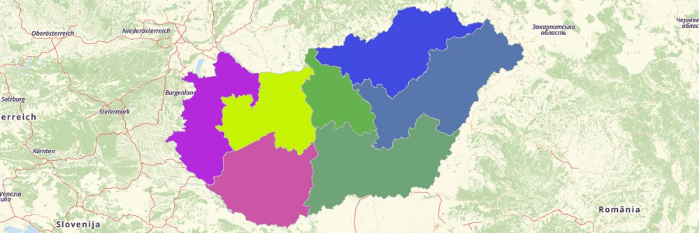 Regions of Hungary Map
