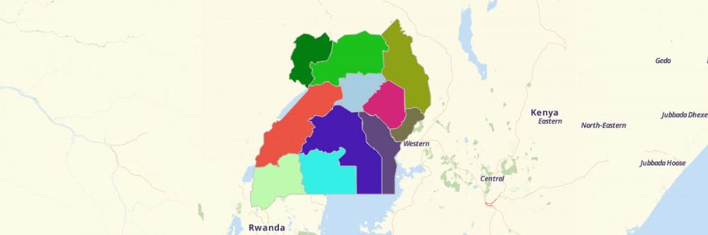 Sub-regions of Uganda Map