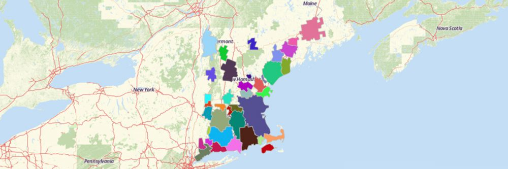 Map of US New England City and Town Area NECTA