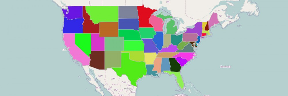 A United States map color-coded by state