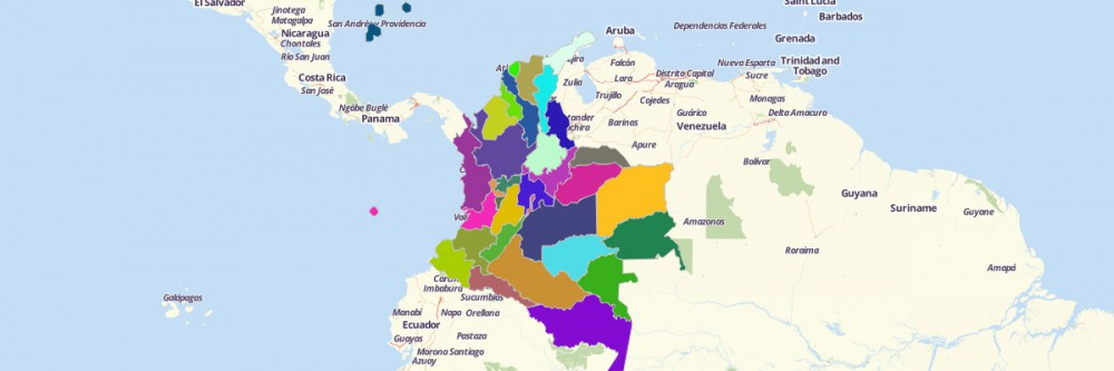 Map of Colombia Departments