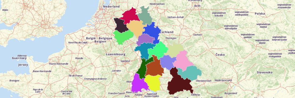 create germany regions map with mapline