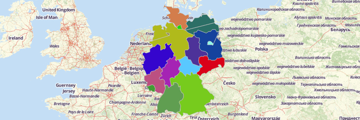 Map of German States - Mapline